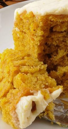Pumpkin Buttermilk Cake and Cream Cheese Frosting ~ Rich and lightly spiced…