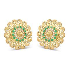 Rasvihar Palki Series Large Ear Stud - These ear studs from the Palki series recreate the luxurious ethos of an era when artisans designed exquisite jewellery for their royal patrons. The stylized gold 'chatri' in the center is reminiscent of the 'palkis' once used to transport aristocratic ladies. The small pearls surrounding it are a refreshing contrast to a larger circle of gleaming, emerald cobs. Two rounds of 18-karat gold fret work add delicate relief.