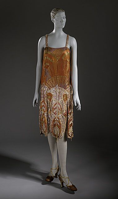 ~Silk and metallic brocade evening dress with sequins and glass bead embellishment and lace and beaded tassel trim, by Callot Soeurs, French, ca. 1925~