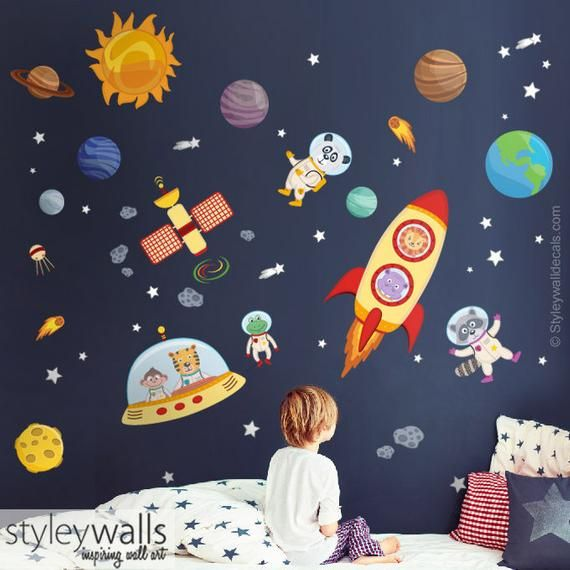 2ebef5257c Space Wall Decal, Planets Wall Decal Sticker, Spaceship Wall Decal, Rocket Wall  Decal, Animal Astron