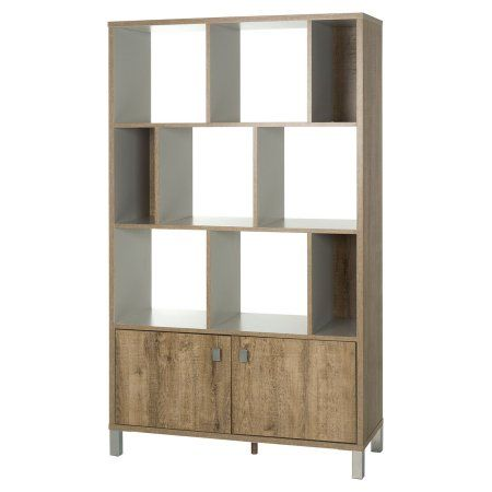 South Shore Expoz 9-Cube Shelving Unit with Doors, Weathered Oak/Soft Gray
