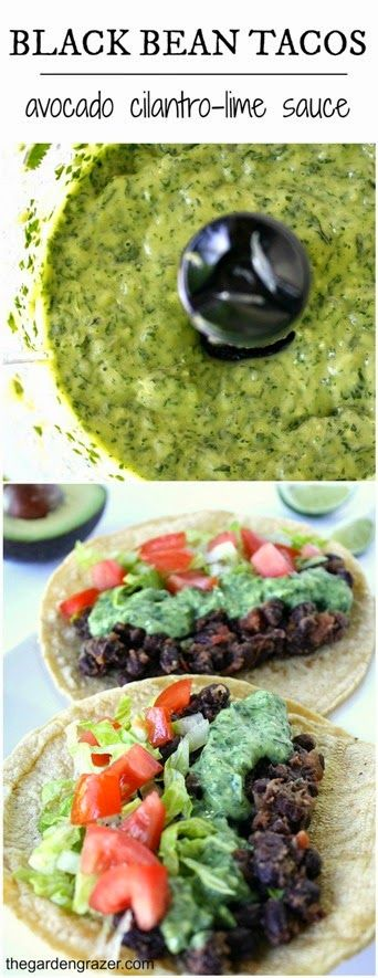 Black bean tacos with avocado cilantro-lime sauce (vegan, gluten-free)