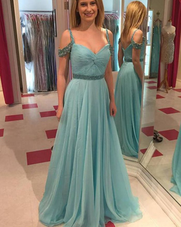 4bbe0d57afe cold shoulder cyan pleated prom dress