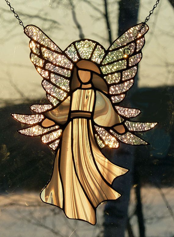 Stained Glass Angel. Guardian angel by SaraFranceGlassArt on Etsy