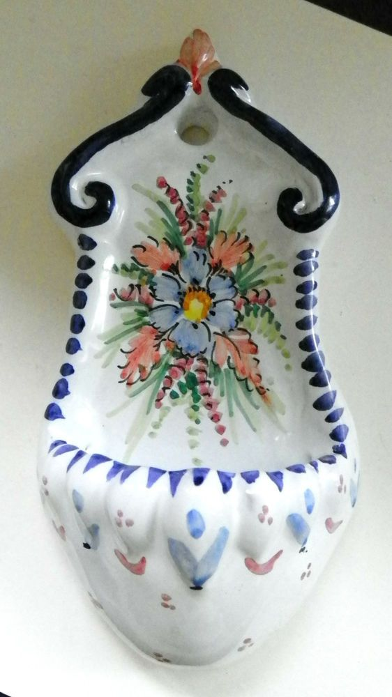 Vtg Spain Spanish/Italian Clay Pottery Handpainted Wall Hanging Holy Water Font