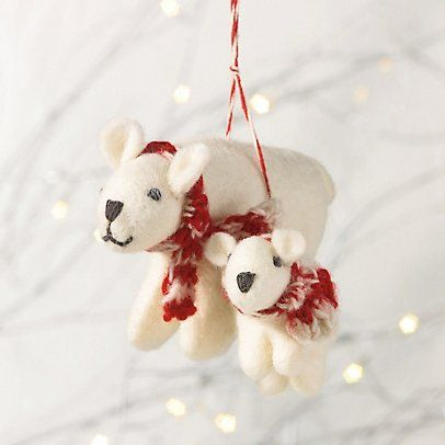 Felt Polar Bear Mother and Baby Decoration | The Little White Company