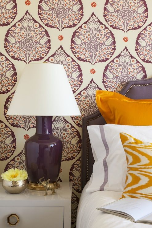 Gorgeous purple and orange bedroom with Galbraith and Paul Wallpaper