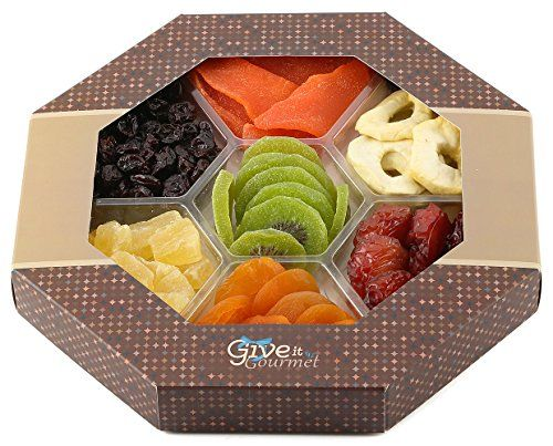 GIVE IT GOURMET, Assortment Dried Fruits Basket (7 Section) - Array of Organic Delicious Dried Fruit for Holidays Snack   Large Healthy Gift Basket
