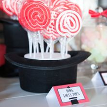 We used top hats as stands on the lolly buffet for this magic party and they worked a treat!