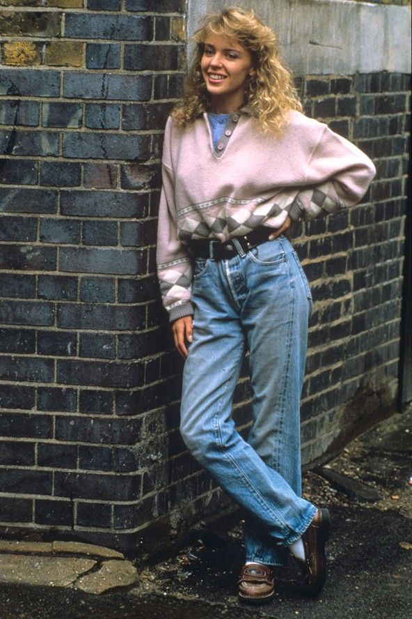 Kylee Minogue modeling 1988 fashion