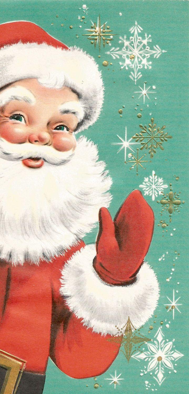 Vintage retro Santa Claus Christmas card digital download printable instant… More                                                                                                                                                                                 More