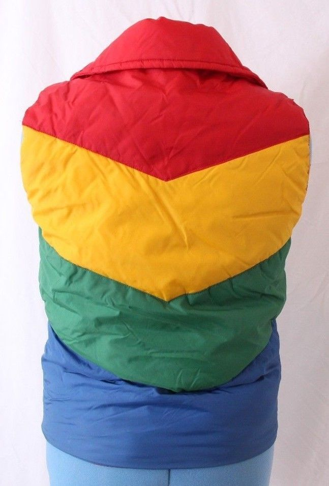 b295a47aec1e Vtg Reversible Down Filled Rainbow Full Zip Quilted Winter Puffer ...