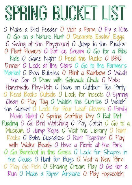 Spring Bucket List. 50 Things to Do This Spring (Free Printable) || Spring Activities & Crafts for Families and Kids.