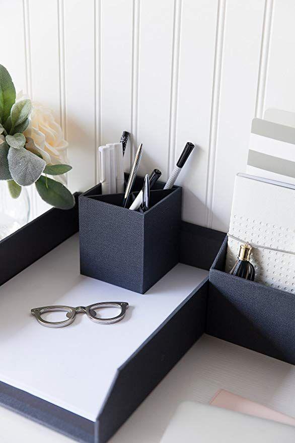 Amazon Com Blu Monaco Gold Desk Organizers And Accessories For Women 4 Piece Desktop Accessories And Cubicle Magazine File Holders Pencil Cup Cubicle Decor