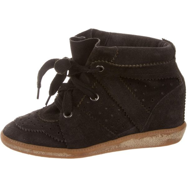 Pre-owned Isabel Marant Bobby Wedge Sneakers ($245) ❤ liked on Polyvore featuring shoes, sneakers, black, wedge sneakers, suede sneakers, black shoes, wedge trainers and studded lace-up wedge sneakers
