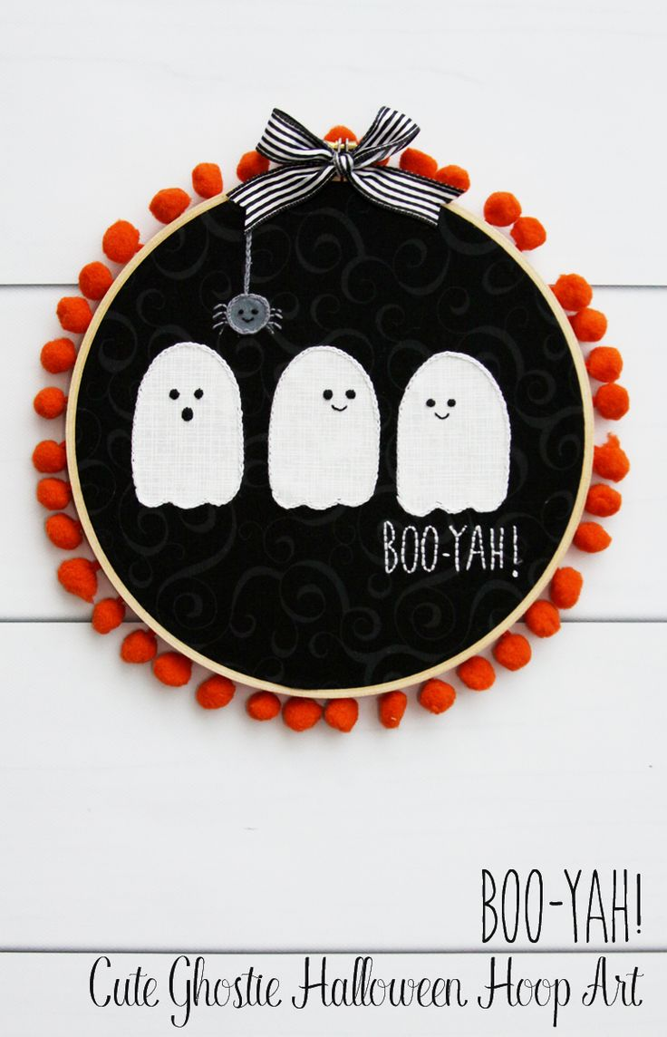 DIY boo yah cute ghostie Halloween hoop art
