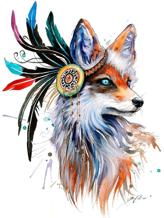 In nature spectrum signed Art Print Fox wild life par PixieColdArt