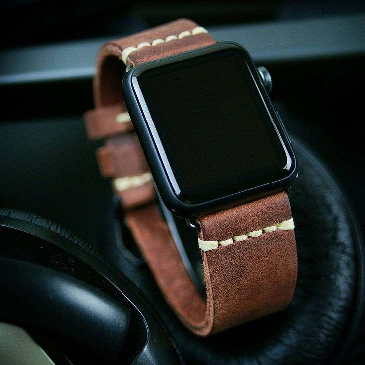 Apple Watch with a leather strap via B & R Bands Apple