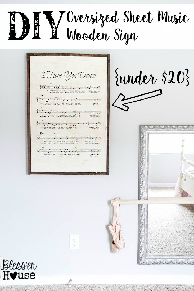 DIY Oversized Sheet Music Wooden Sign - RH Baby and Child KnockOff   Bless'er House