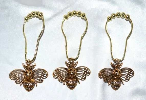 Gold Bee Shower Curtain Hooks Set Of 12 Xl Antique Gold W Clear