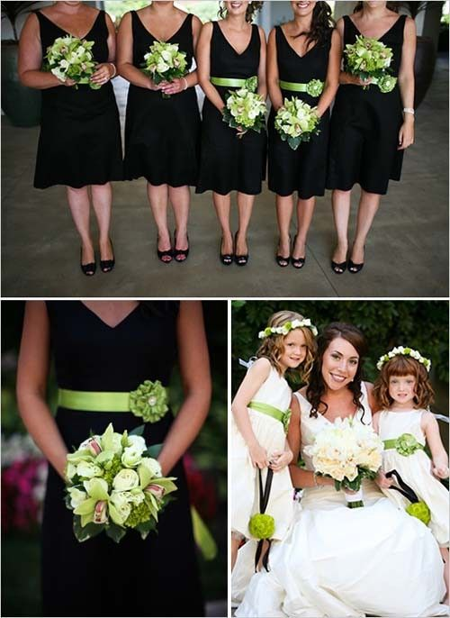 Black bridesmaids dresses and green bouquets by Gabym