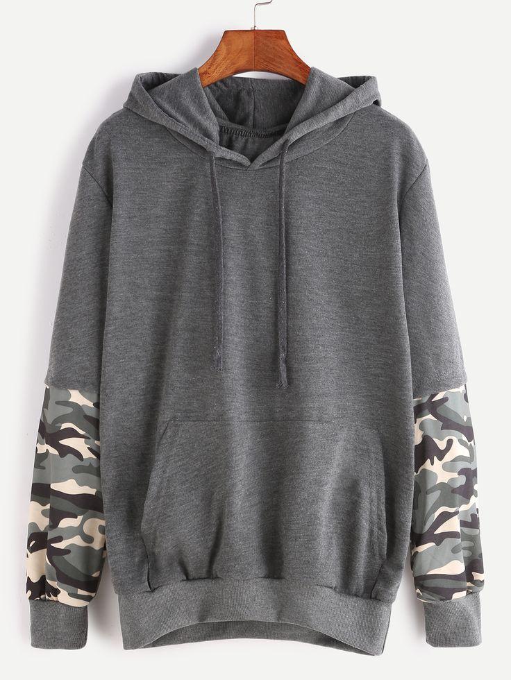 Dark Grey Hooded Contrast Camo Print Sleeve Pocket Sweatshirt — 0.00 € color: Grey size: one-size