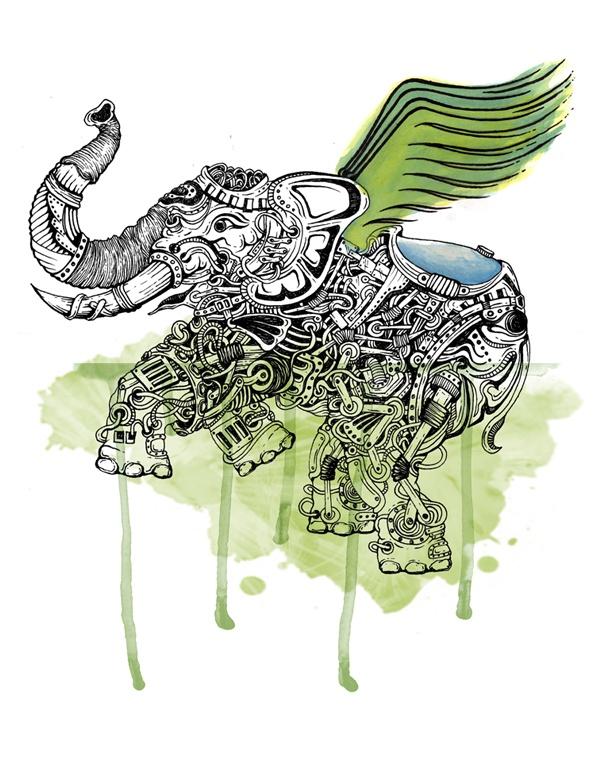 Flying Green Elephant