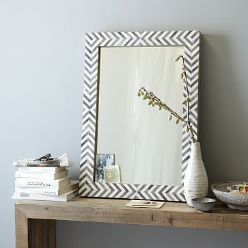 Totally different direction for the powder room?  Parsons Wall Mirror - Gray Herringbone #westelm