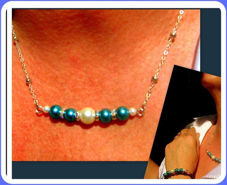 COLLIER perles Bleu et blanches : Collier par camelys-bijoux