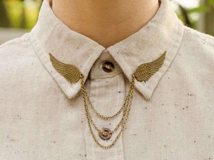 Bronze Bird Wing Collar Clip Collar Chain by DapperandSwag on Etsy https://www.etsy.com/listing/171571708/bronze-bird-wing-collar-clip-collar