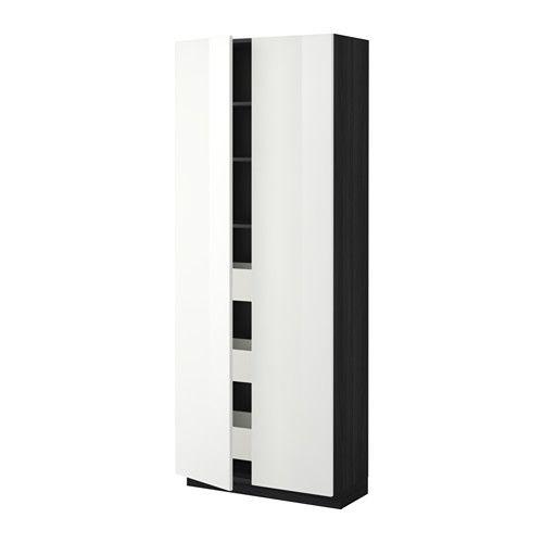 METOD/MAXIMERA Høyskap m skuffer/2 dører - tremønstret svart, Ringhult høyglans hvit, - - IKEA