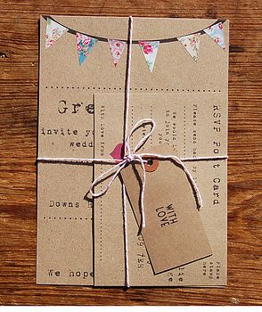 vintage fayre wedding stationery (I like the flowered bunting on brown kraft paper.)
