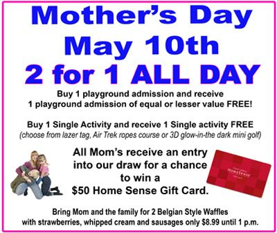 Mother's Day Special for May 2015 2 for 1 ALL DAY #WOW