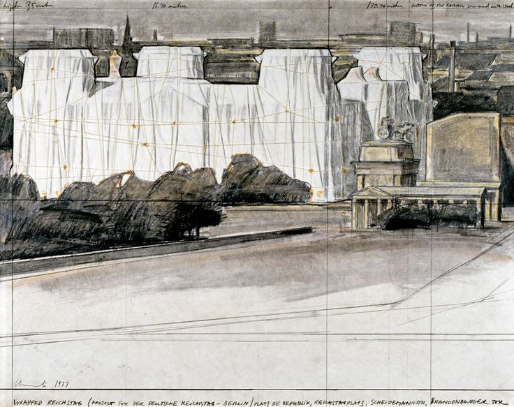 """Christo — Wrapped Reichstag (Project for Der Deutsche Reichstag - Berlin) Collage 1977, 22 x 28"""" (56 x 71 cm) Pencil, fabric, twine, pastel, charcoal and wax crayon. Kunstmuseum Bonn, Germany. Photo: Archive © 1977 Christo"""