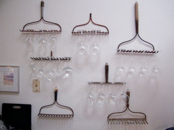 wine glass rack made from rake heads, this should be your next home DIY project @Sara Gasbarra