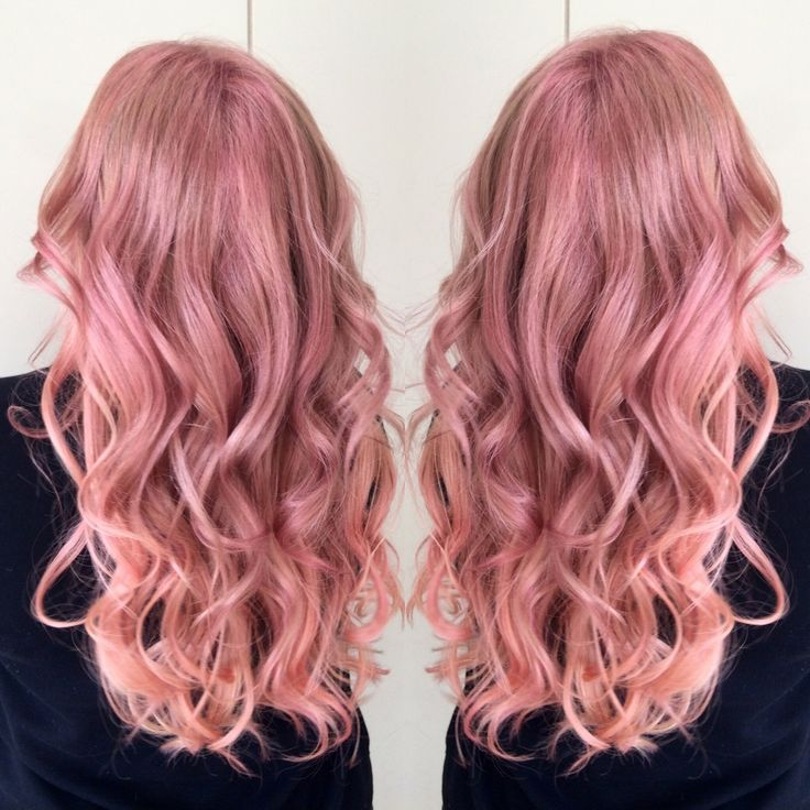 Inspiration by Katie Russo from Capelli- A Paul Mitchell Focus Salon. #peach #pink #longhair #pastel  @bloomdotcom