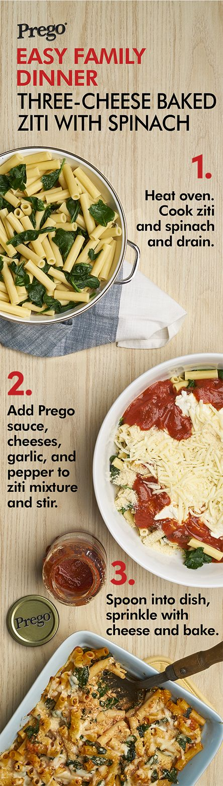 With three cheeses and fresh spinach, this ziti casserole is oh so good.