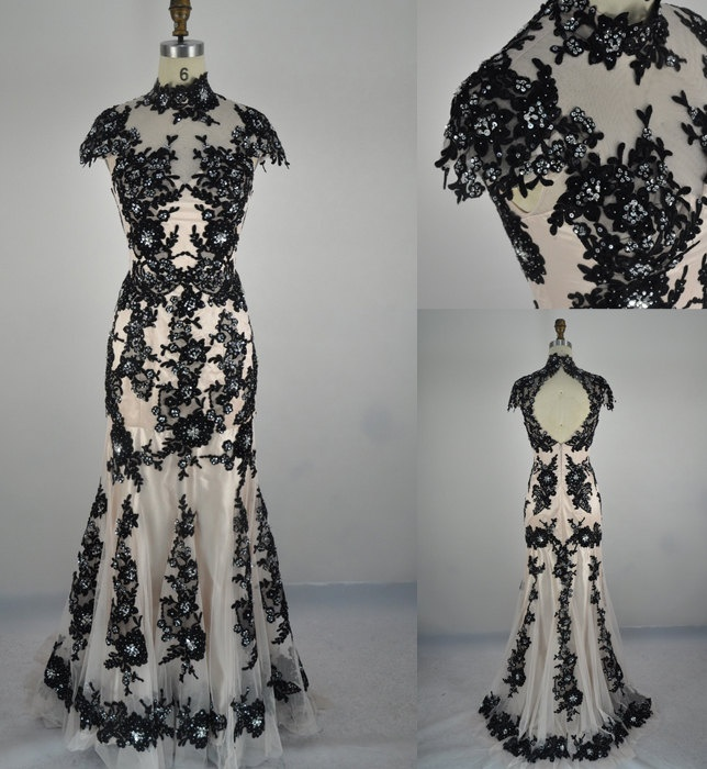 Mermaid High Neck Lace Black Evening Gown Prom Dress Wedding Dress Evening Dress. $259.00, via Etsy.