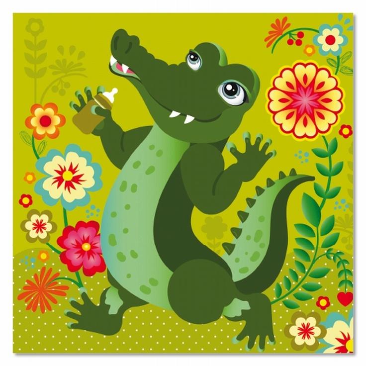 Greeting card #birth #crocodile from www.kidsdinge.com https://www.facebook.com/pages/kidsdingecom-Origineel-speelgoed-hebbedingen-voor-hippe-kids/160122710686387?sk=wall