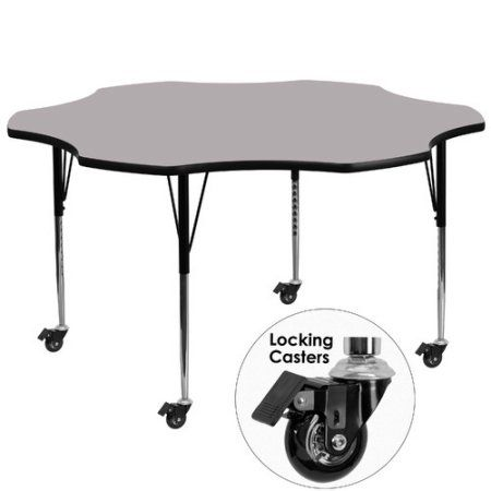 Used Flash Furniture Mobile 60'' Flower Shaped Activity Table with Grey Thermal Fused Laminate Top and Standard Height Adjustable Legs, Gray