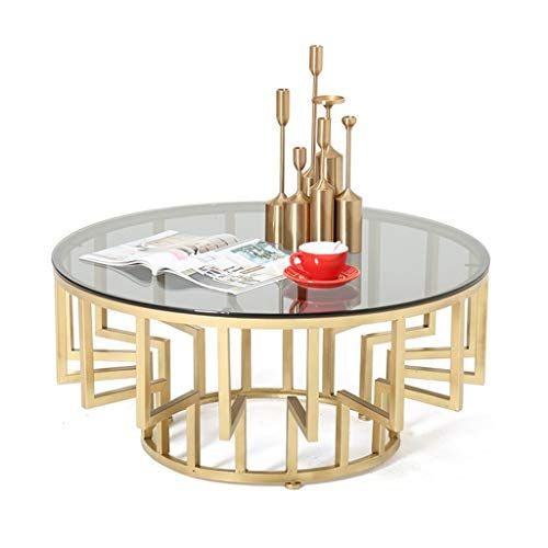Modern Coffee Table Translucent Tempered Glass Table Top Metal