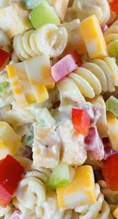 Creamy Cheddar Pasta Salad with a simple dressing is a fantastic side dish for a summer BBQ!