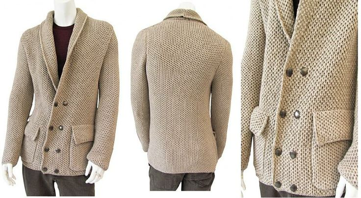 Double-breasted jacket maded by Shima Seiki, smocking knit stitch, metal buttons, patch pocket with flap, very refined style for a dandy man on sale. #Men #Clothing #Jacket