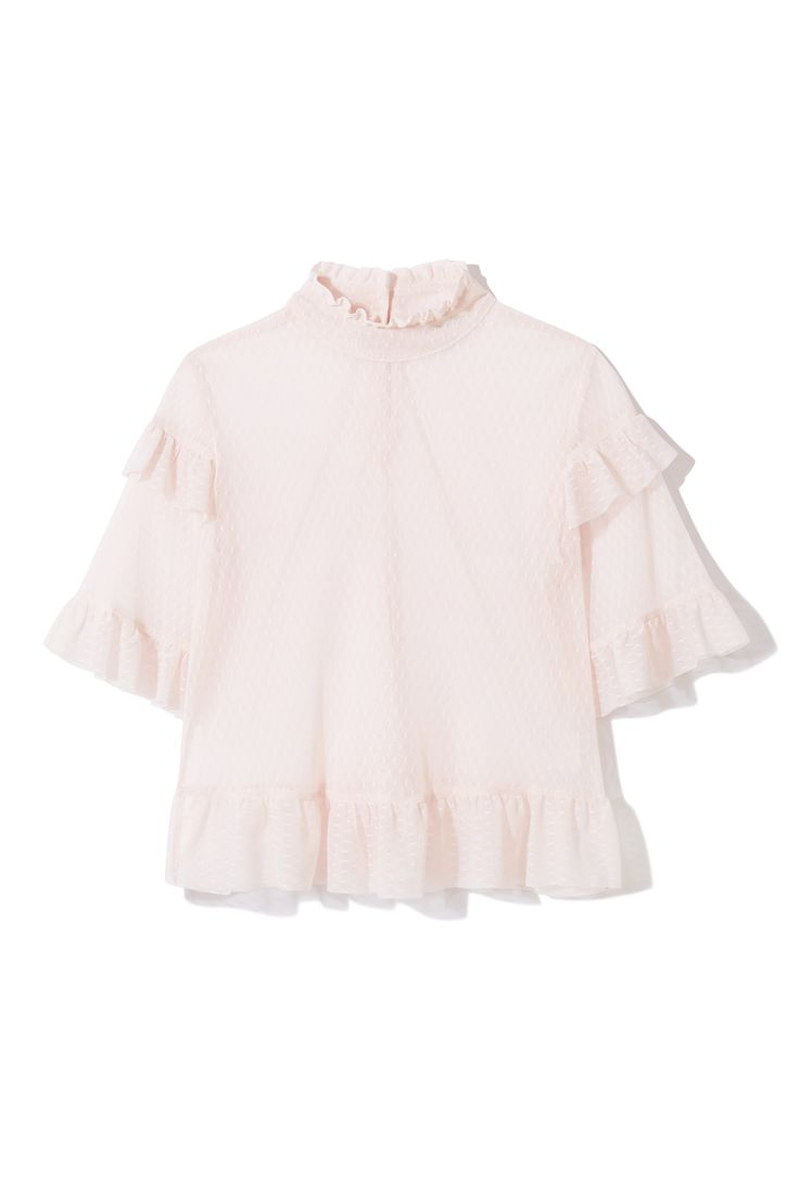 Get your frills this spring in Miss Selfridge's pretty pink mesh blouse. Featuring statement tiered sleeves and plenty of ruffles, this sweet sheer shirt works equally well with crisp white jeans or a swishy midi-skirt.
