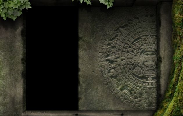 Aztec ruin wall/door. The beveling used for the mural on the stone could be effective to use in baked texturing.