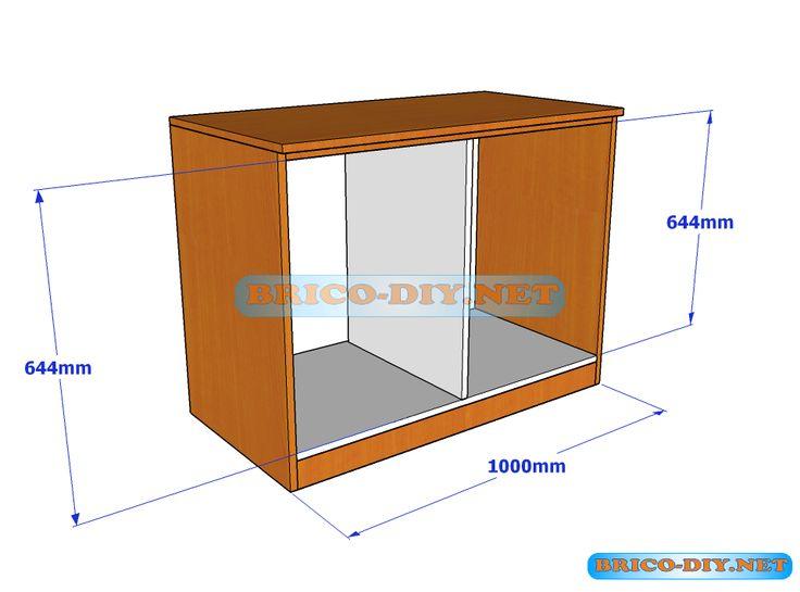 Plano y medidas de c mo hacer una comoda de melamina con for Enchufes planos para detras muebles
