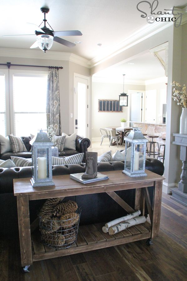 Easy DIY console table  - Maybe entry area table - add a second shelf layer? - love the way shelf wood is opposite the top