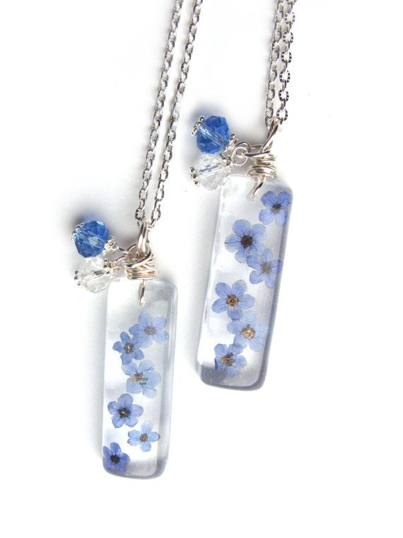 Real Forget me Nots Necklace - Real Flowers Encased in Resin - Pressed Flower Jewelry - Resin Necklace - Wire Wrapped Pendant