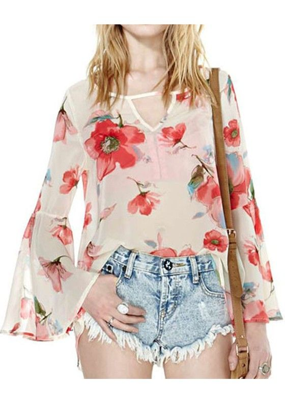 Multicolor Floral Print Long Sleeve Wrap Chiffon Blouse