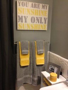 grey & yellow bathroom decorations - Google Search This is the colors in my upstairs bathroom! Except the yellow is softer